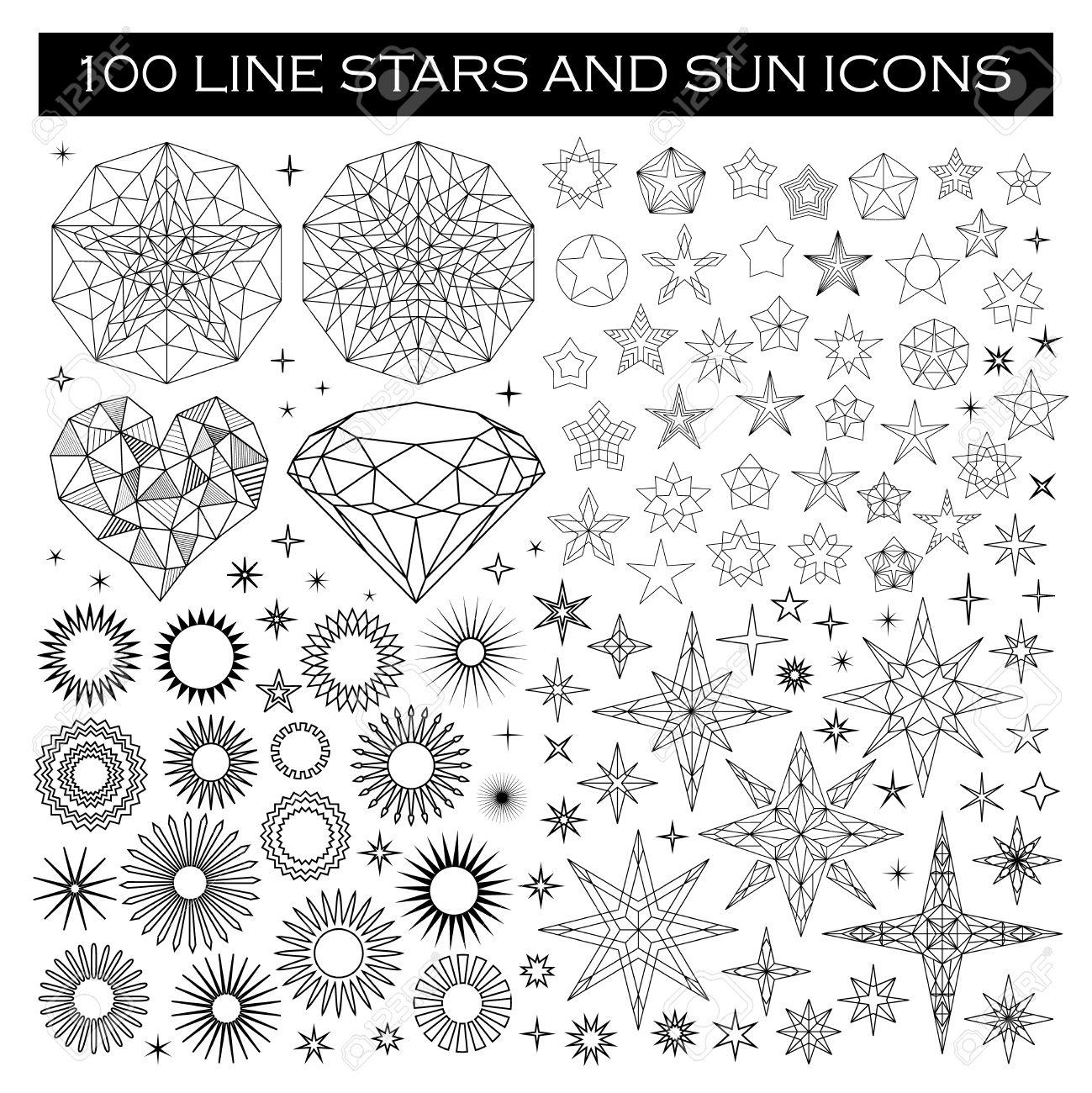 Gran Manojo De Estrellas Y Sun Iconos. Las Estrellas Línea De Diseño ...