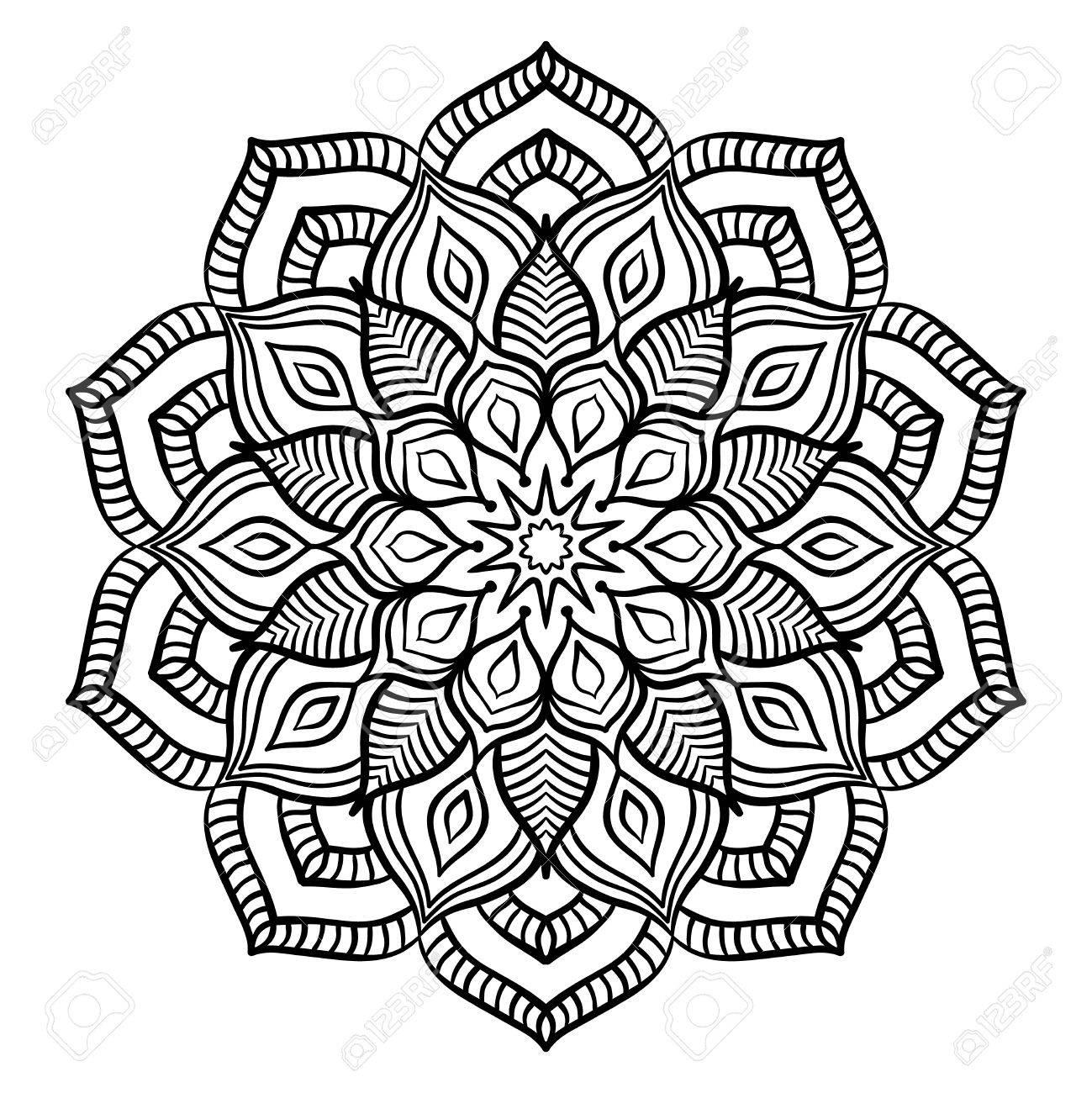Schwarz Mandala Für Die Färbung. Line-Mandala Auf Weißem Hintergrund ...