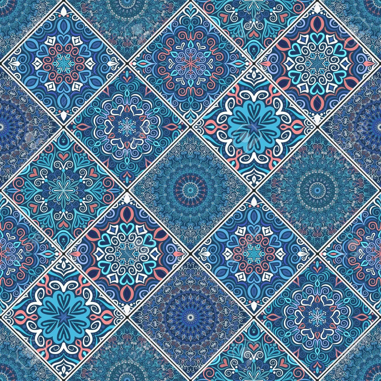 Ornement Bleu En Mosaïque Des Mandalas Modèle Transparent En Style