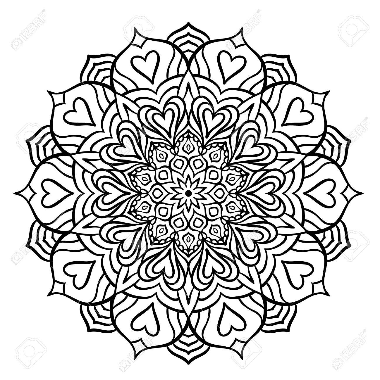 Intricate Mandala Design Black With Hearts For Coloring Line Isolated On White Background Outline
