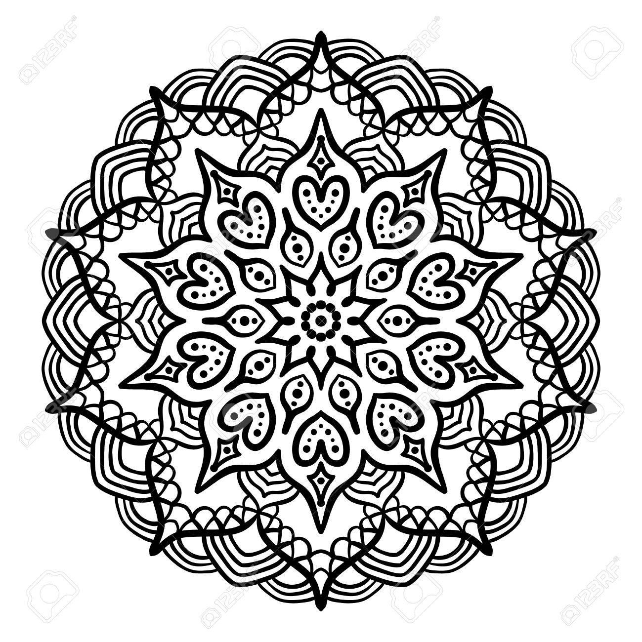 Mandala Noir A Colorier Mandala De Ligne Isole Sur Fond Blanc Mandala De Contour Pour La Page A Colorier Conception De Mandala Complexe Clip Art Libres De Droits Vecteurs Et Illustration