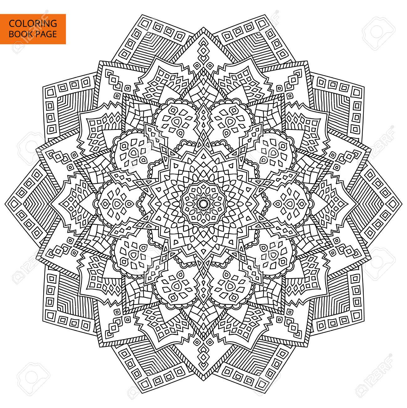 Coloring Book Page With Mandala Outline Line Isolated On White Background