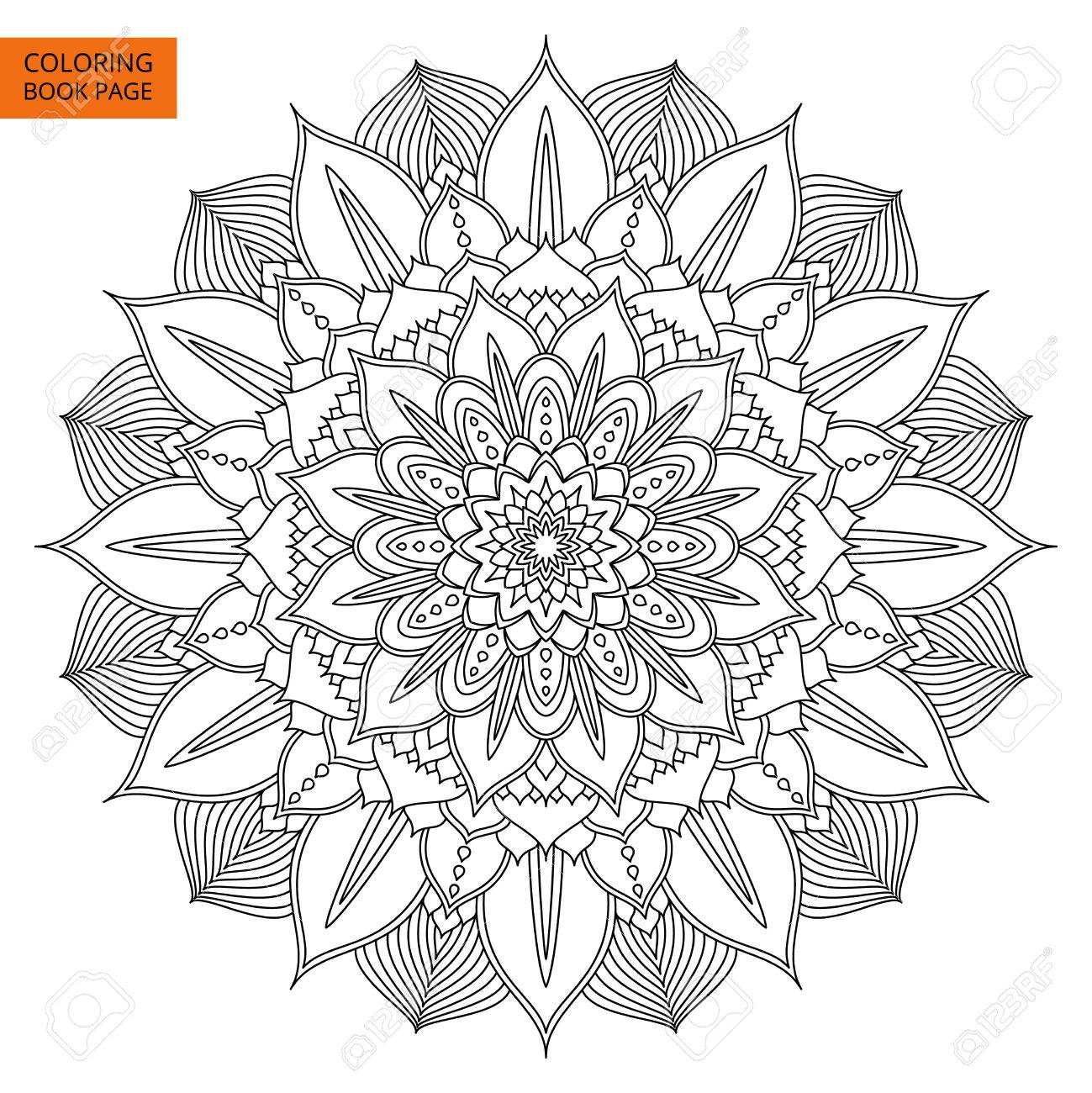Black Mandala For Coloring Book Line Isolated On White Background Outline