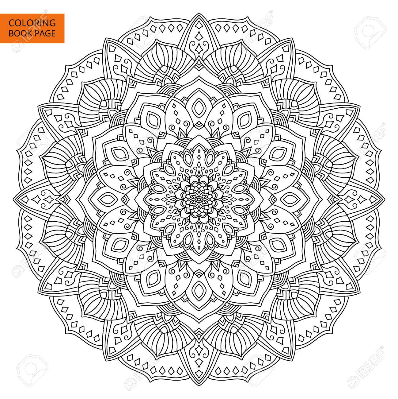 Intricate Black Mandala For Coloring Book. Line Mandala Isolated ...