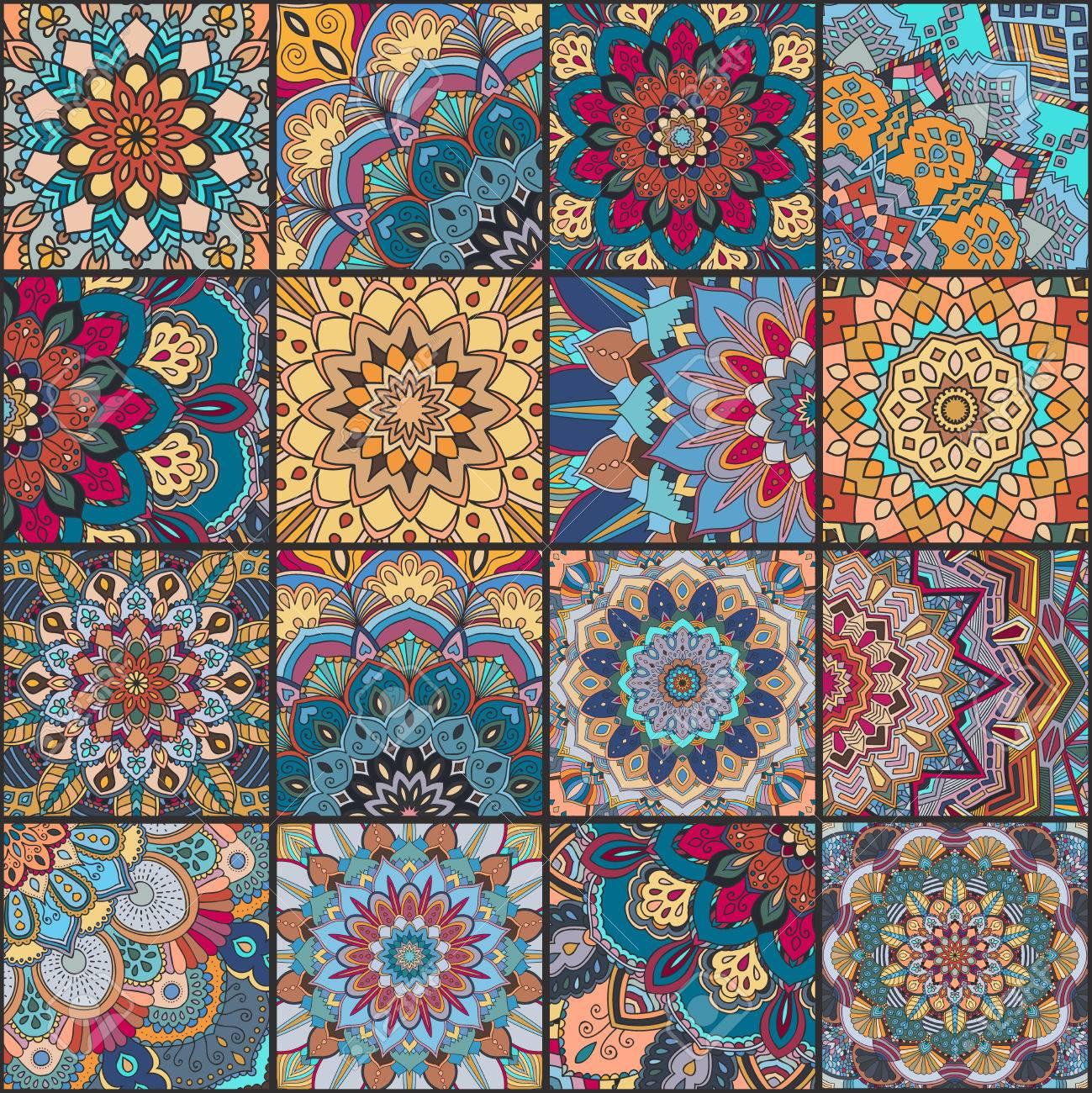 Carrelage Boho Défini Et Pattern Tissu Bleu Orange Patchwork