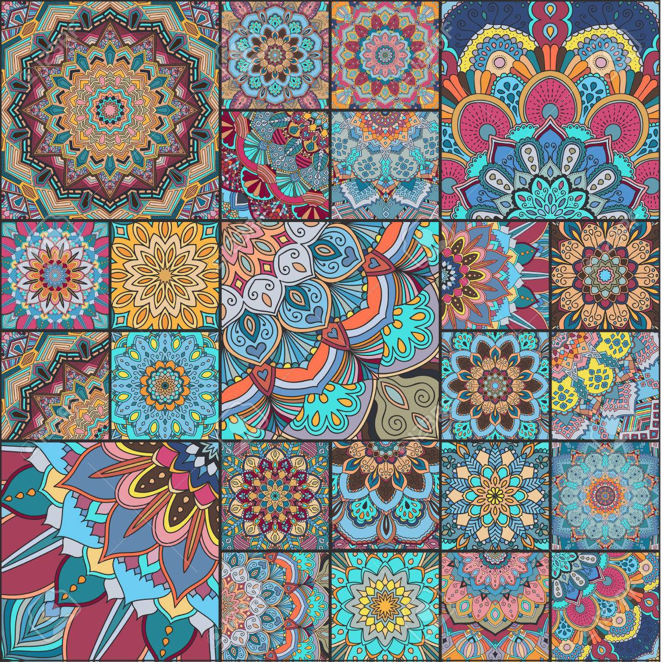 Boho Tile Set Colorful Patchwork For Fabric Print Furniture
