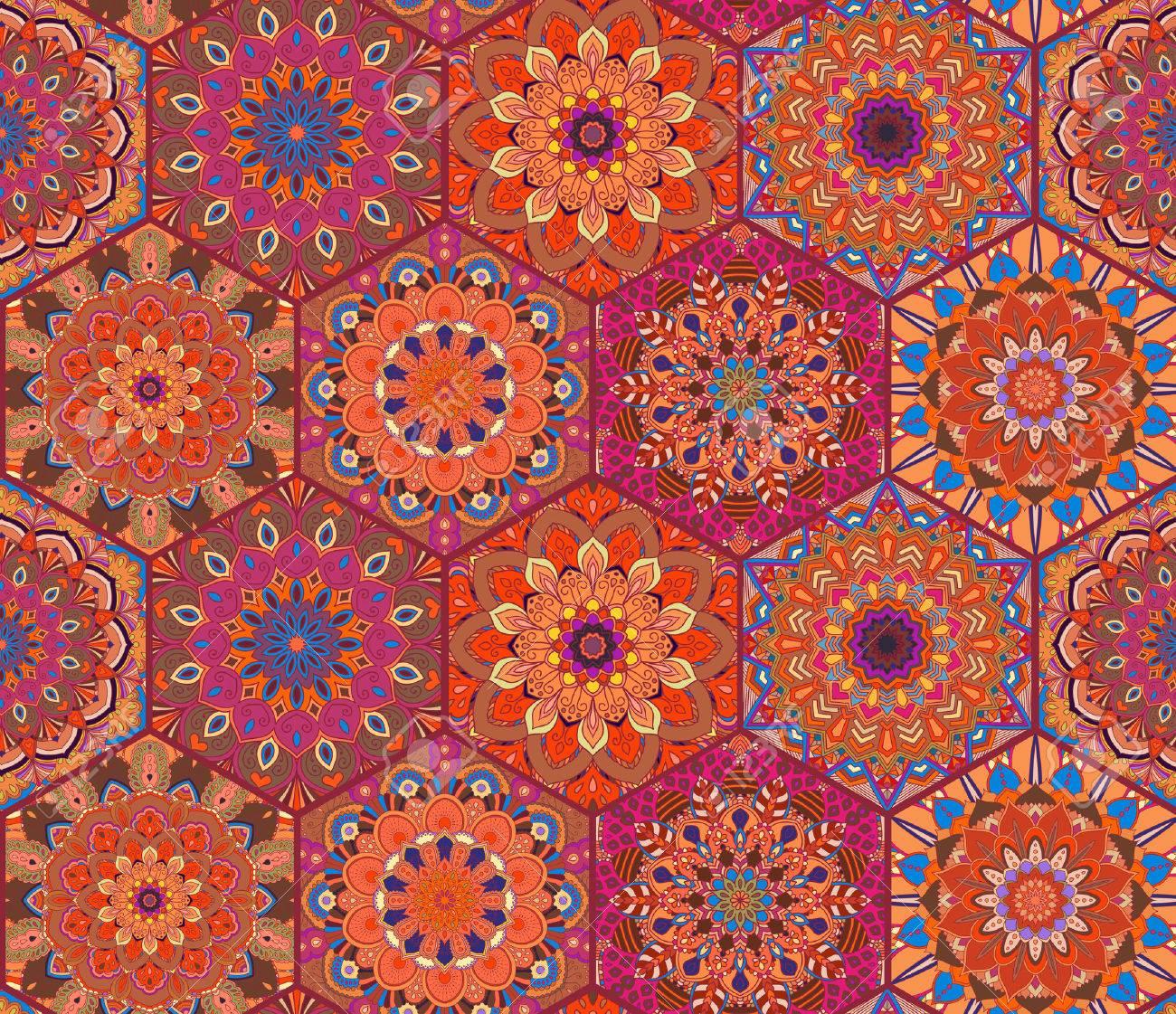 Coloridos Azulejos Rojos Boho Patrón. Fondo Del Hexágono Mandala ...