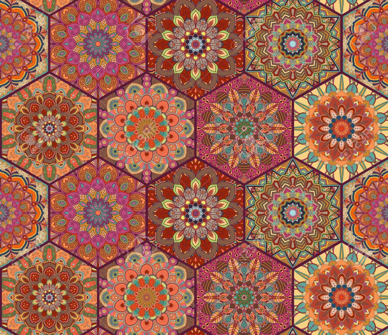 Azulejos De Colores. Patrón Boho. Fondo Del Hexágono Mandala ...
