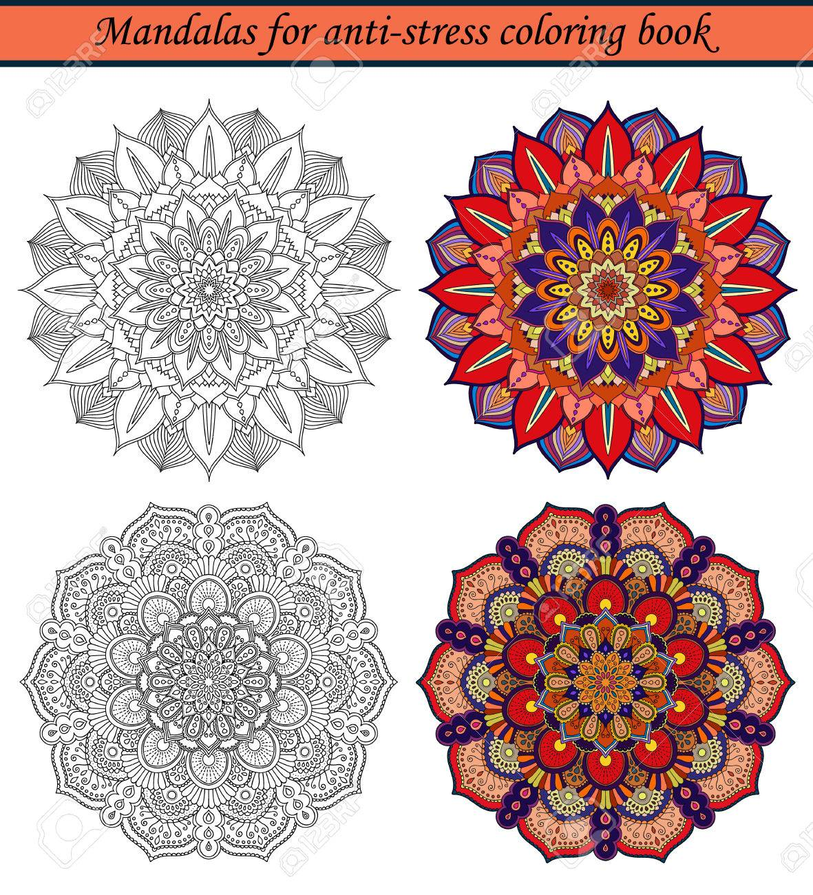 Mandalas For Anti Stress Coloring Book Colored Samples And Black Outline Round Ornaments