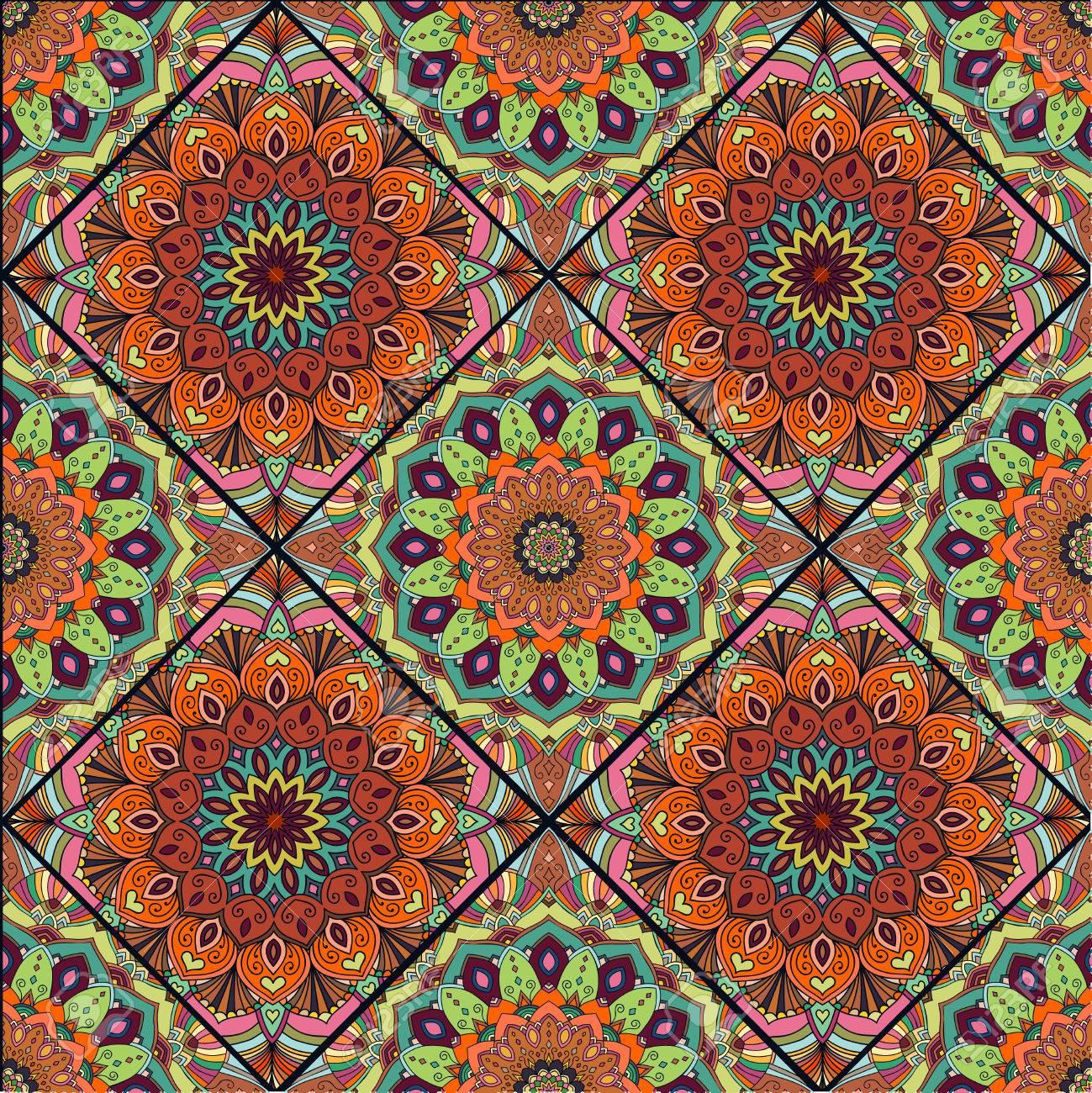 Nieuw Blue Boho Bloem Naadloze Patroon. Mandala Patchwork, Bloemen PF-91