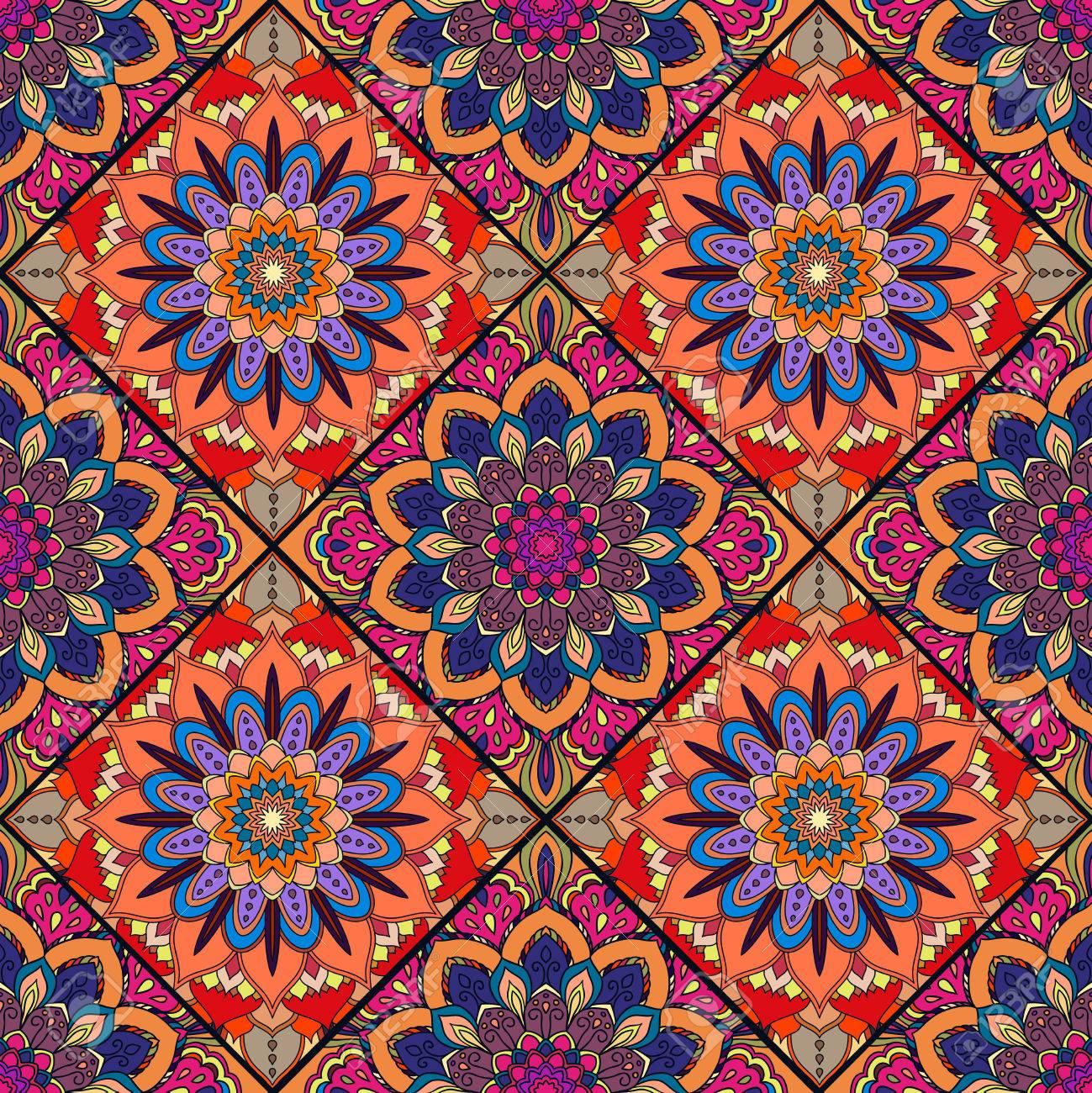 Ongebruikt Rood Blauw Boho Bloem Naadloos Patroon. Mandala Patchwork, Bloemen HP-66
