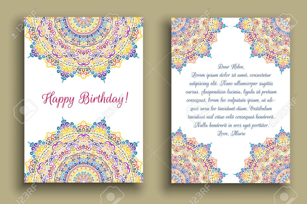 Birthday greeting flourish mandala invitation template colorful flourish mandala invitation template colorful pattern luxury round ornament on white stopboris Image collections