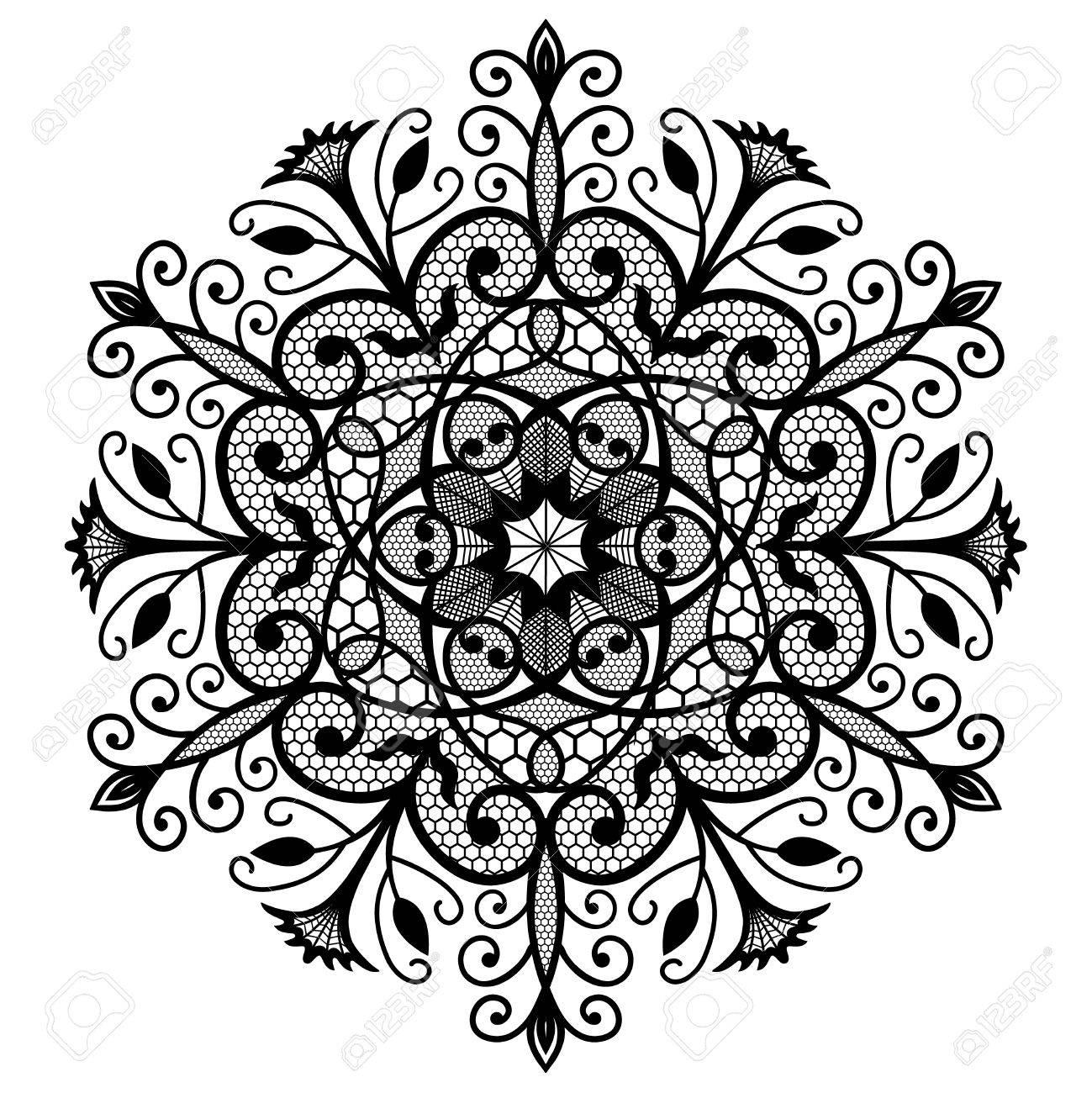 Decorative Lace Round Ornament Intricate Flower Pattern Flourish Design Black Weave Emblem On