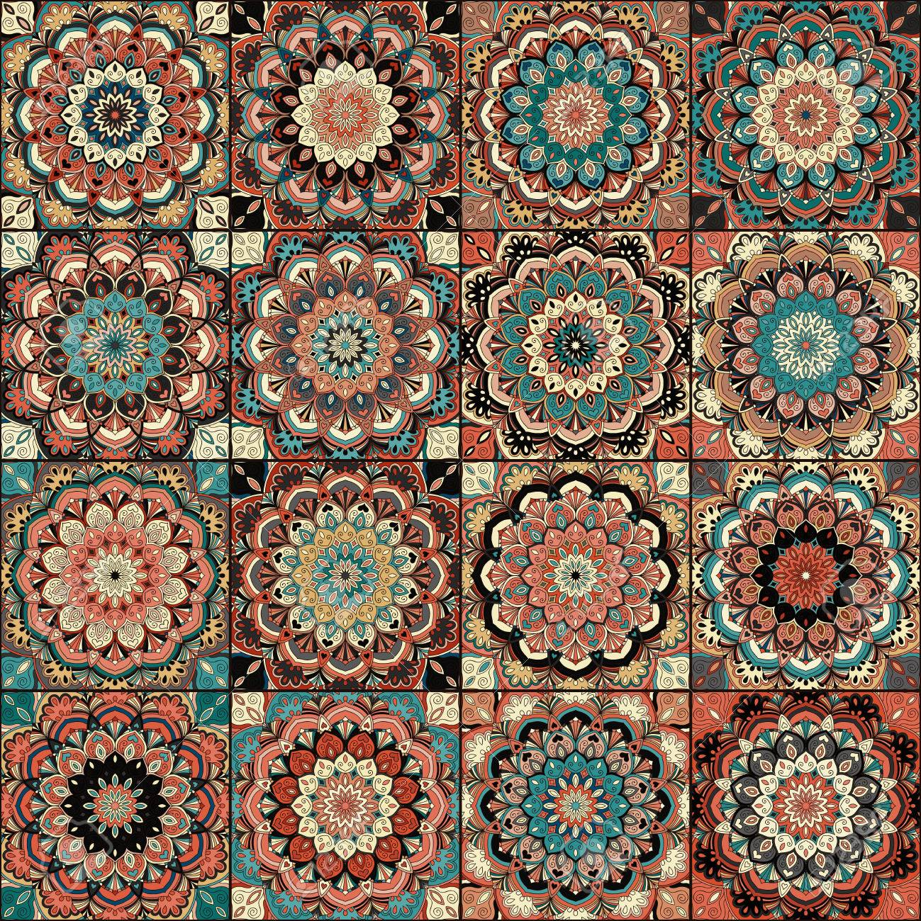 Boho Tile Set And Seamless Pattern. Blue Brown Patchwork Fabric ...