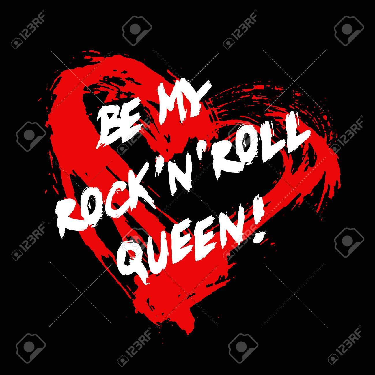 Grunge Valentine Grußkarte Mit Painted Slogan Be My Rocknroll ...