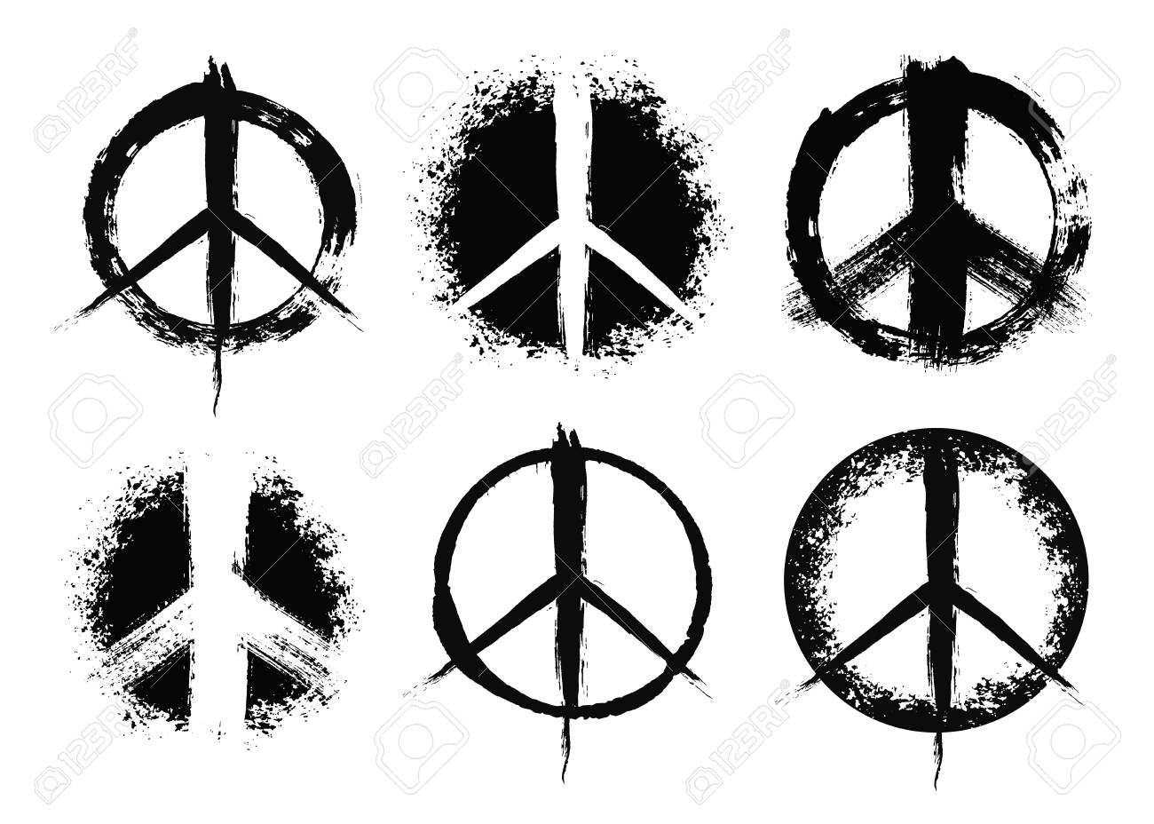 Pacifist Peace Symbols Set Hand Drawn Signs Grunge Brush Strokes