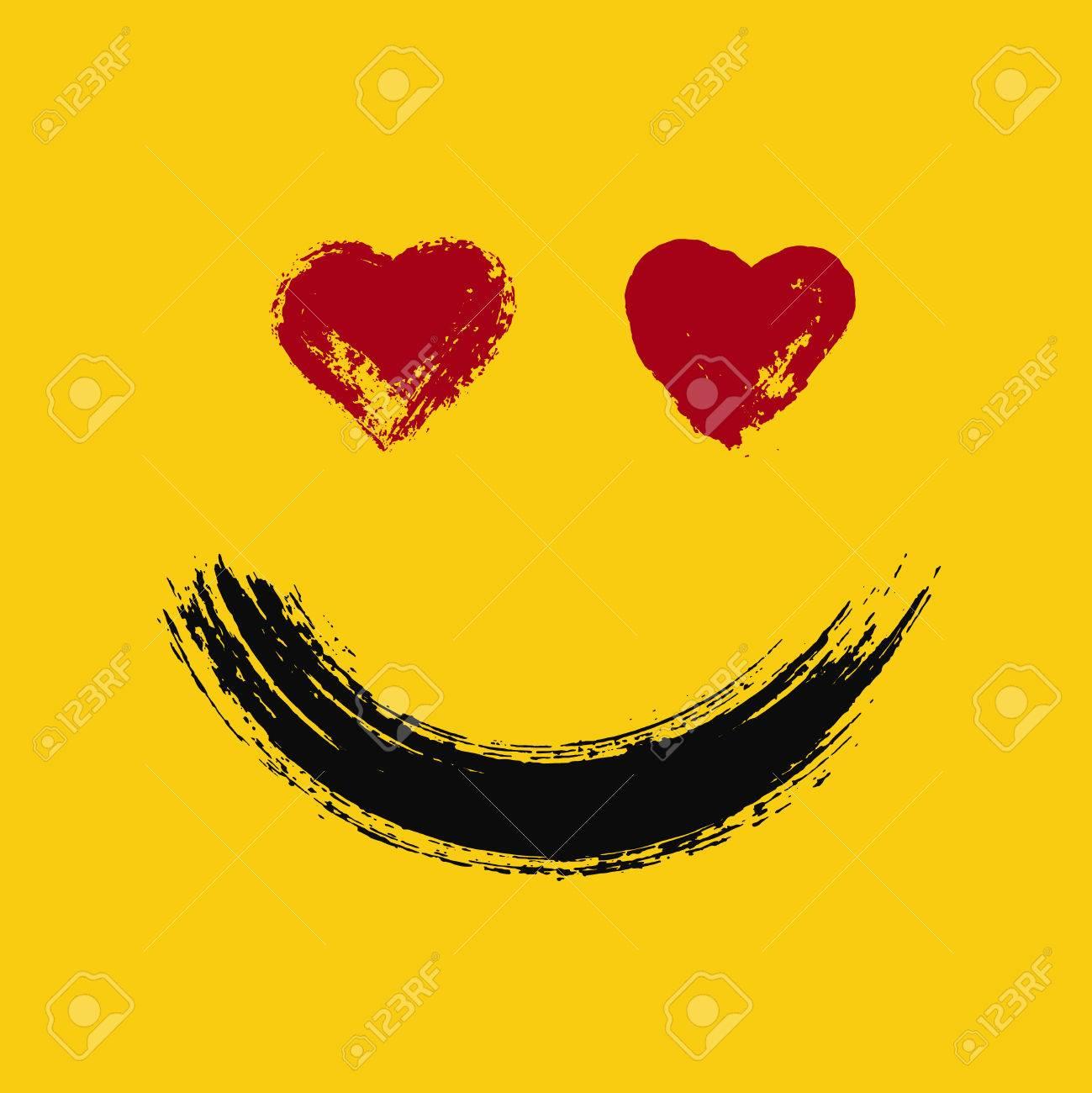 Emoticon En El Amor Emoji Sonriendo Con Los Corazones Ojos Cara