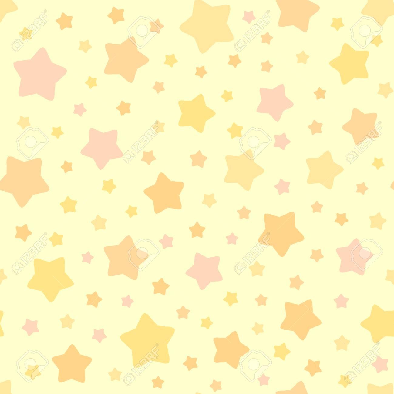 Modèle d\'étoiles vectorielles. Fond de ciel sans soudure. Couleurs pastel  rose jaune orange. Ornement décoratif mignon pour le papier peint de  chambre ...
