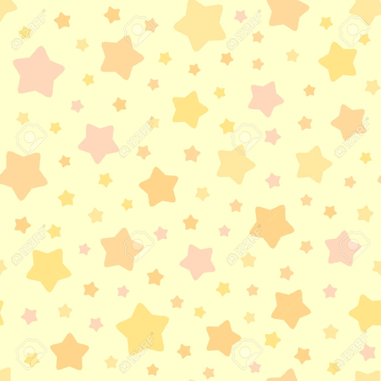 77935495 vector stars pattern seamless sky background pastel pink orange yellow colors cute decorative orname