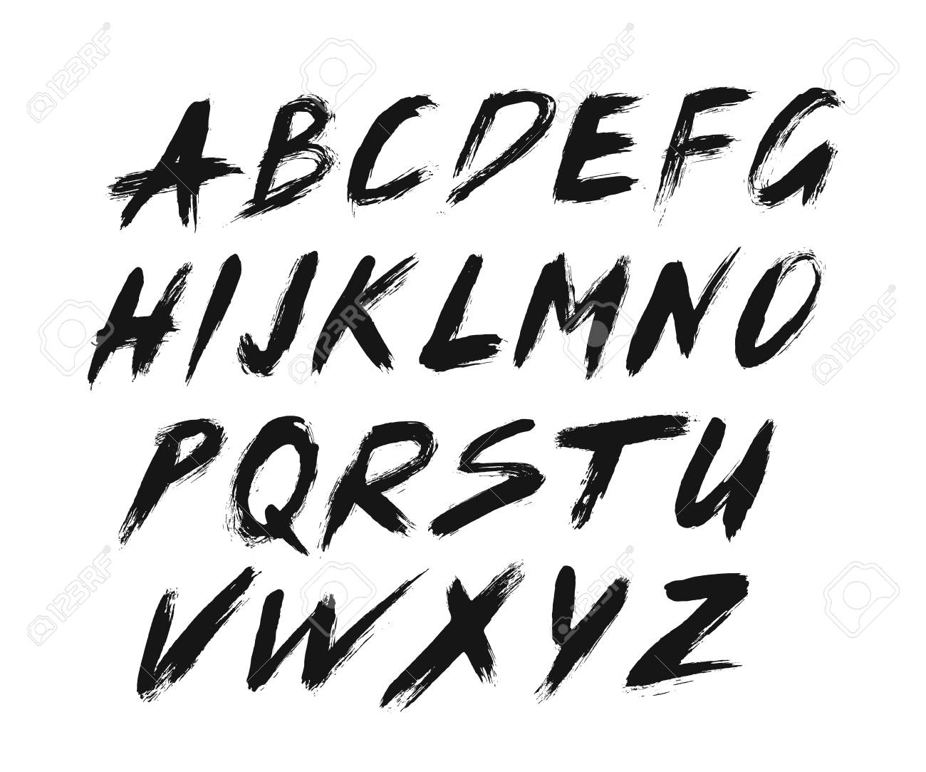 painted abc grungy design italic letters bold handwritten font