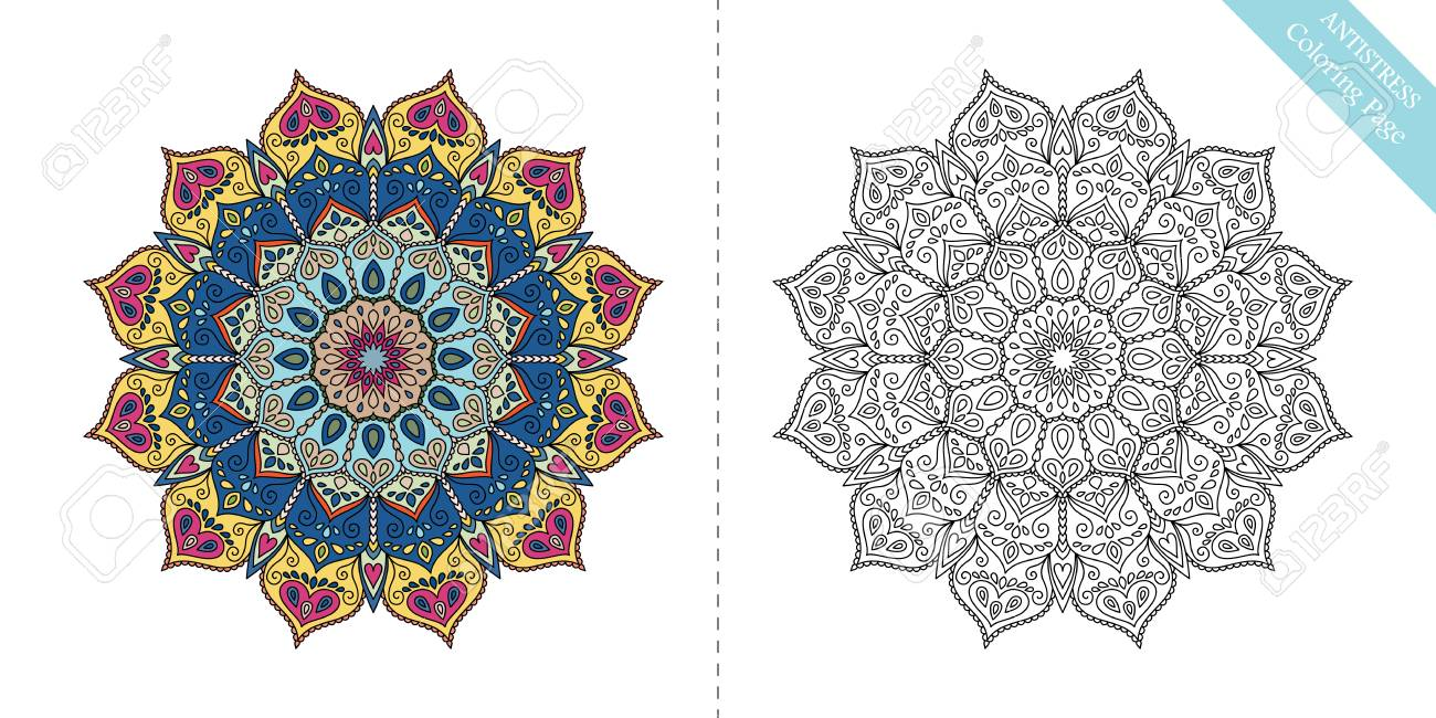 antistress coloring page mandala twelfth