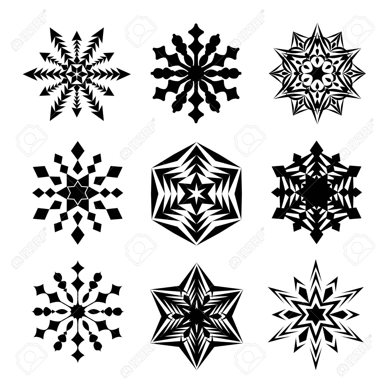 snowflakes isolated on white background black snow shape happy new year or christmas card