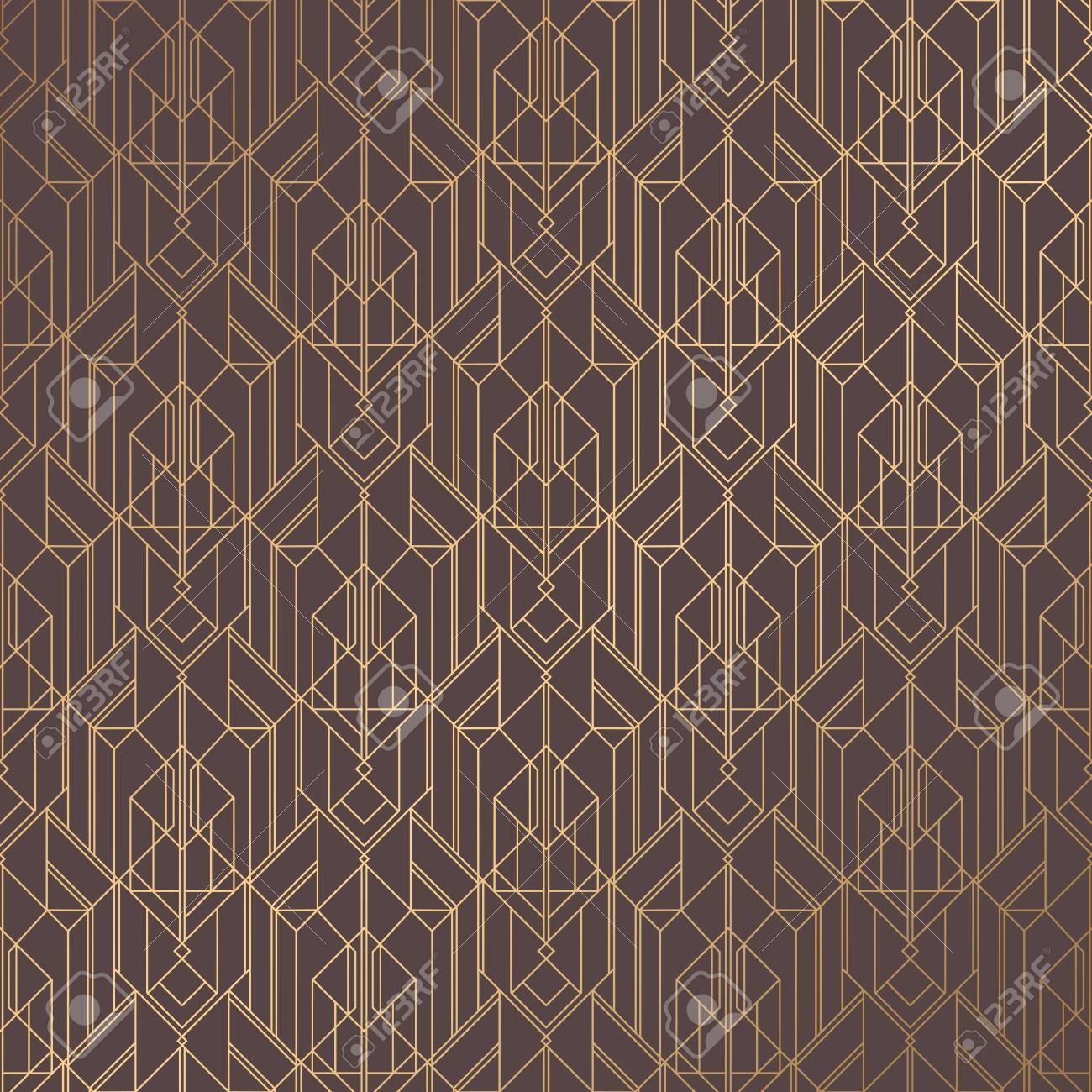 Art Deco Pattern Seamless Golden Background Minimalistic Geometric