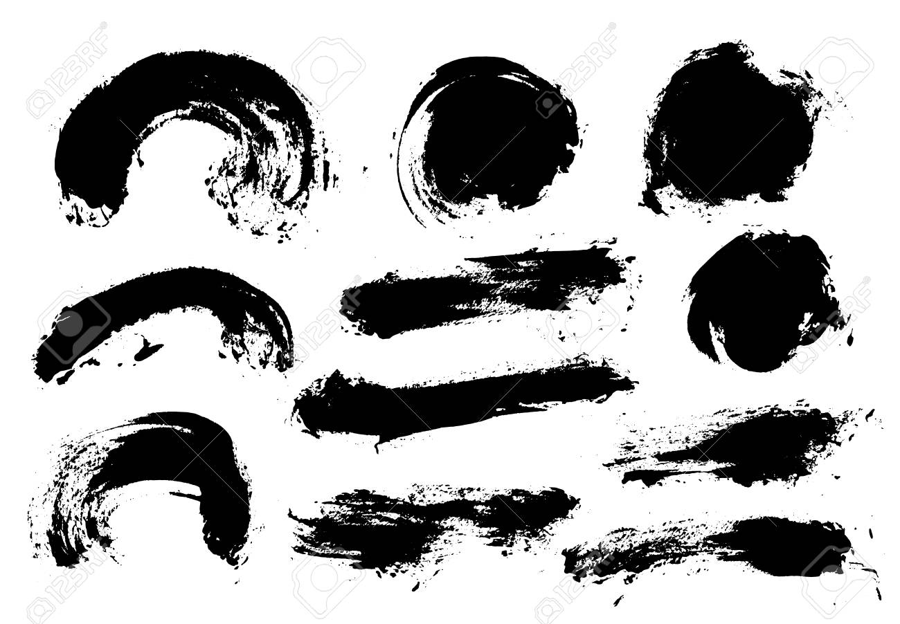 Brush strokes. Vector paintbrush set. Round grunge design elements. Long text boxes. Dirty texture banners. Ink splatters. Painted objects. - 125247599