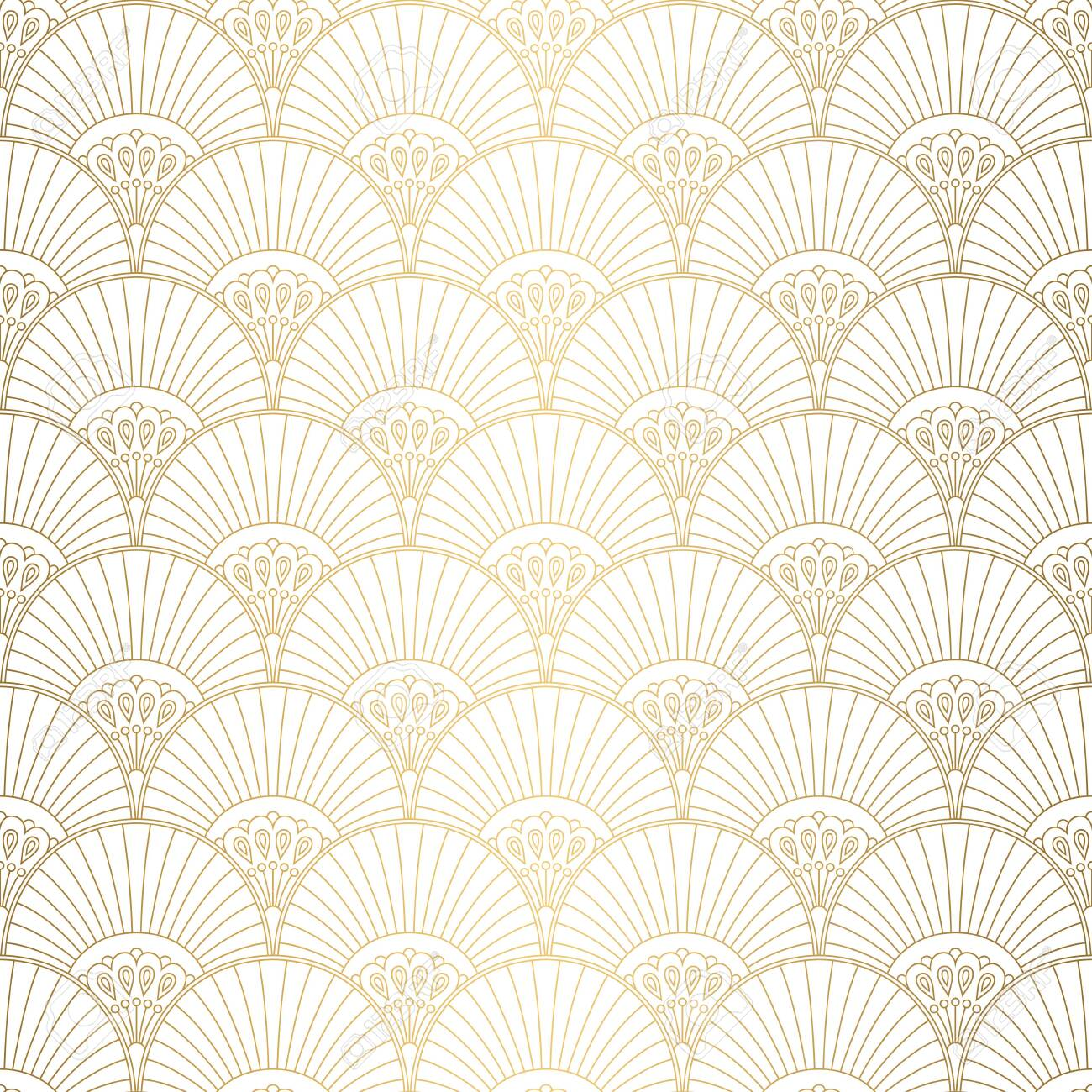 Art Deco pattern. Seamless white and gold background. Wedding decoration - 143744722