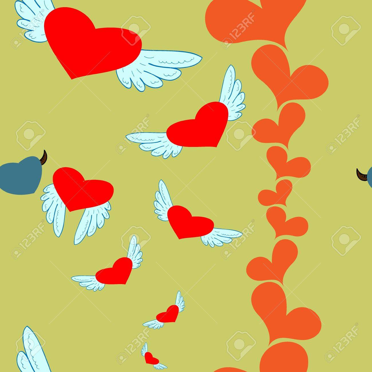hearts angel and devil Stock Vector - 17308914