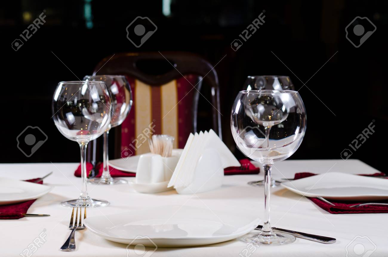 Table In Fancy Restaurant Set For Dinner With Wine Glasses Stock Photo Picture And Royalty Free Image Image 33439961