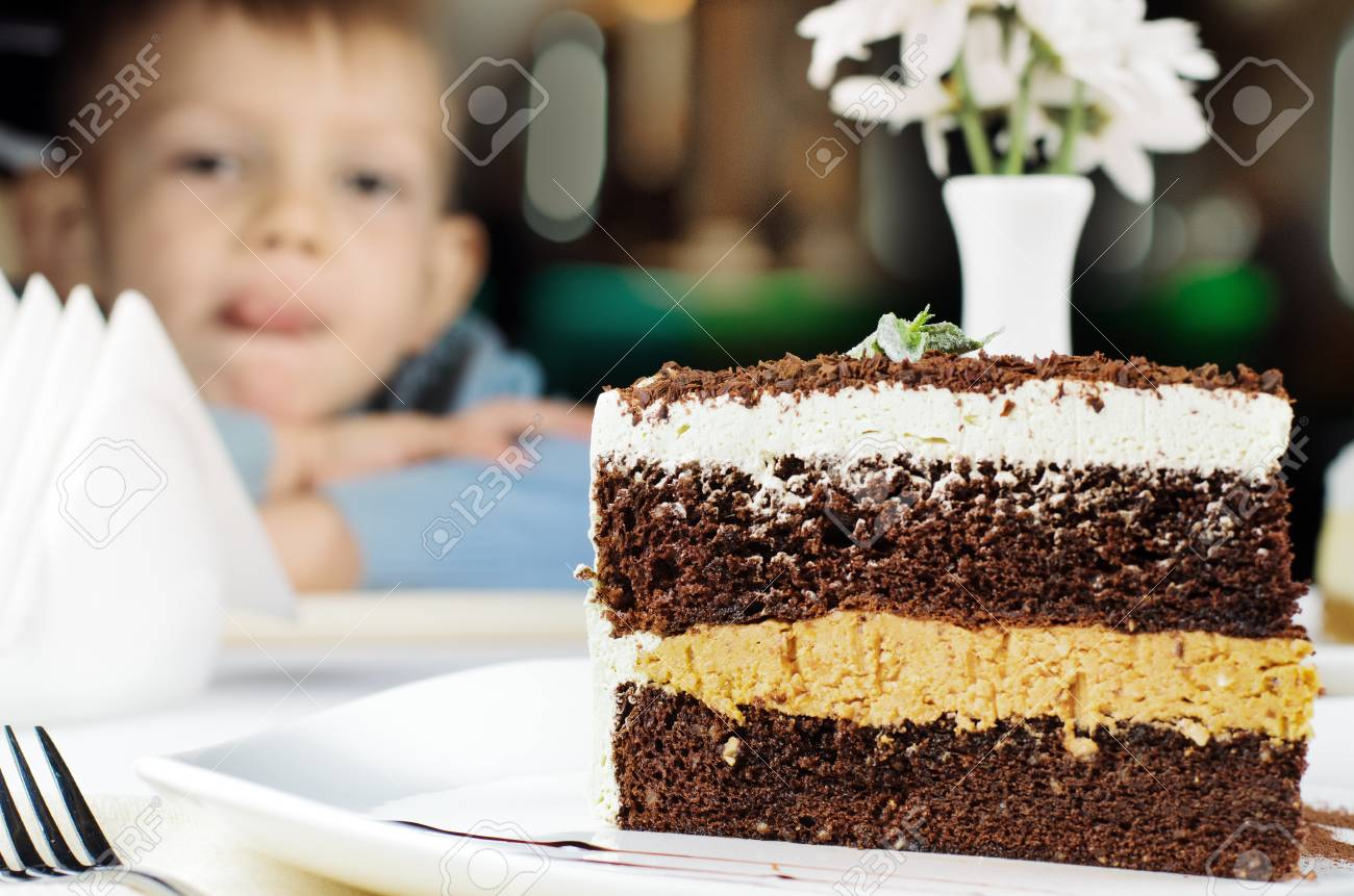 Groovy Delicious Slice Of Layered Birthday Cake With A Little Boy In Birthday Cards Printable Nowaargucafe Filternl