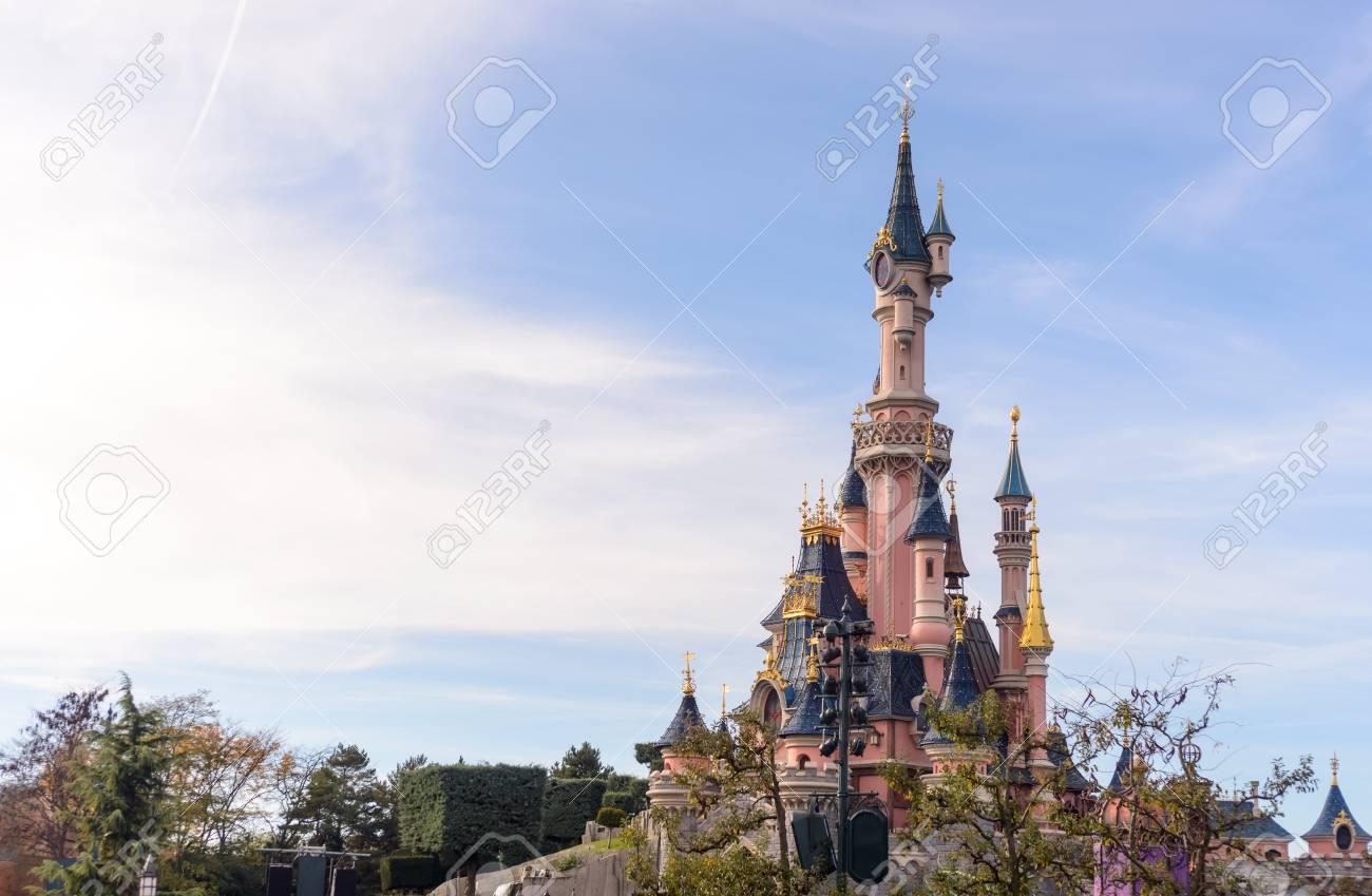 France, Paris- 01 November 2015:Sleeping Beauty Castle , the symbol of Disneyland Paris - 53352889