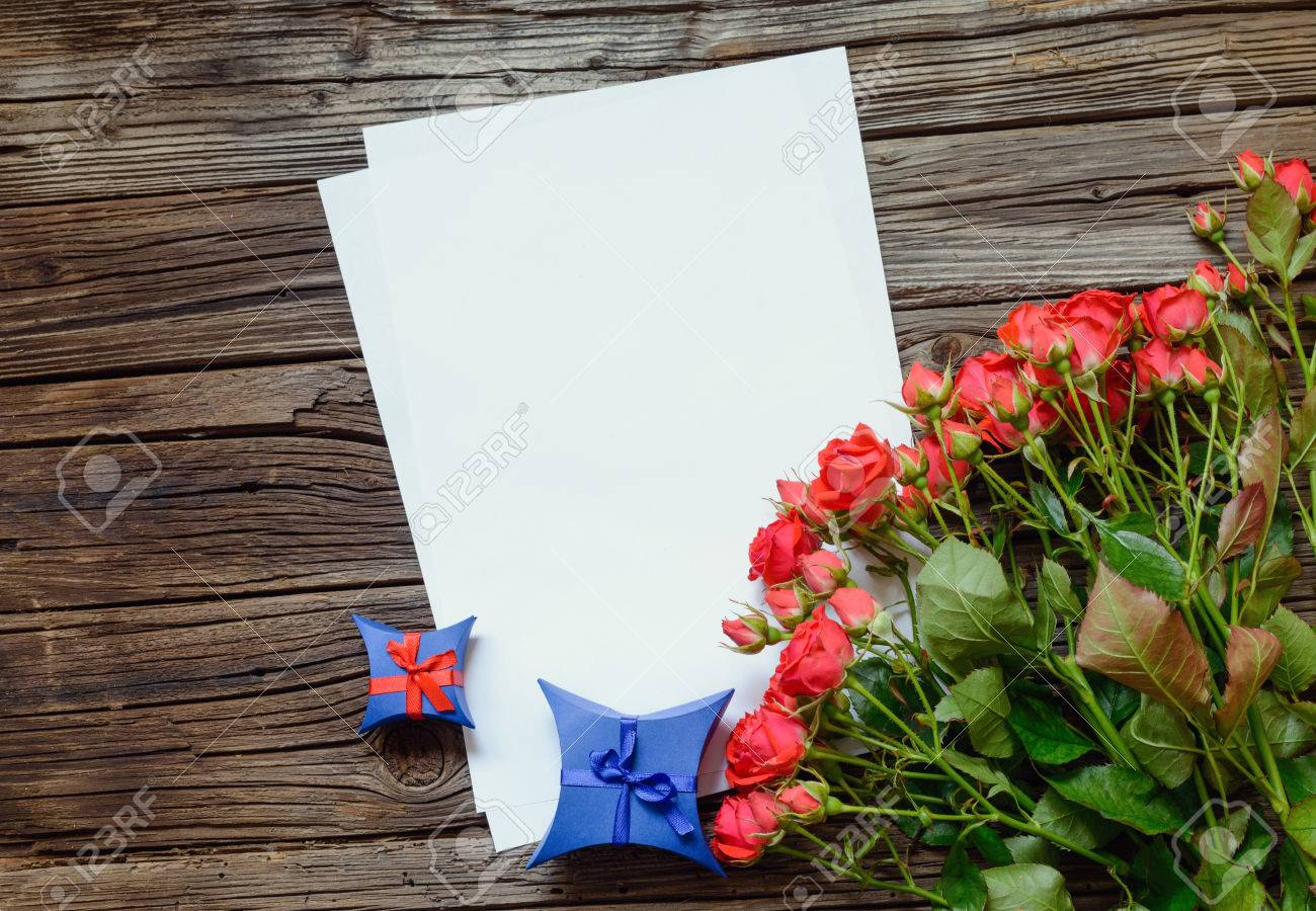 Valentines or anniversary love letter and roses with a bunch.. stock