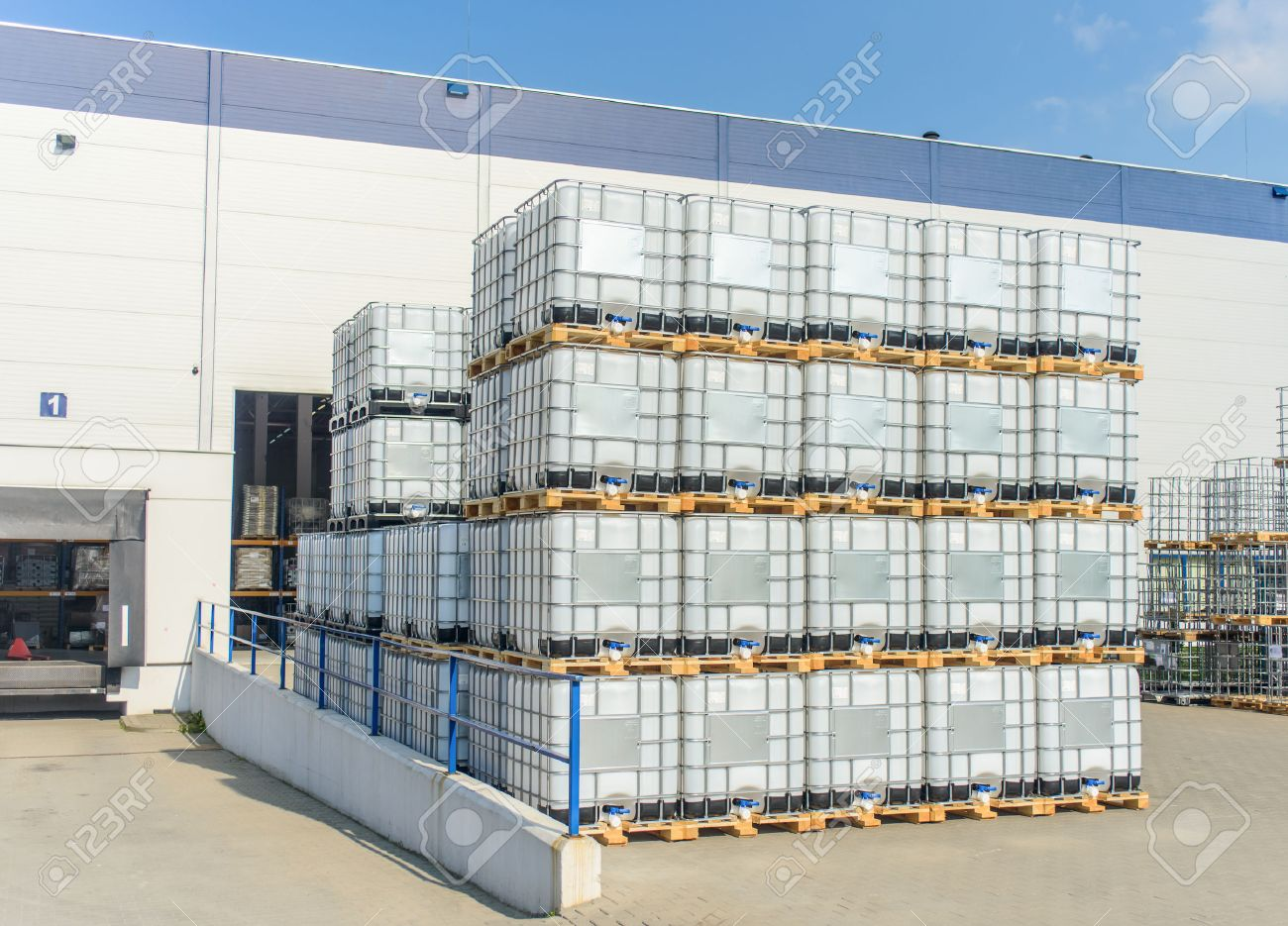 Packed Pallets Ibc Container Of Retail Goods Standing Outdoors