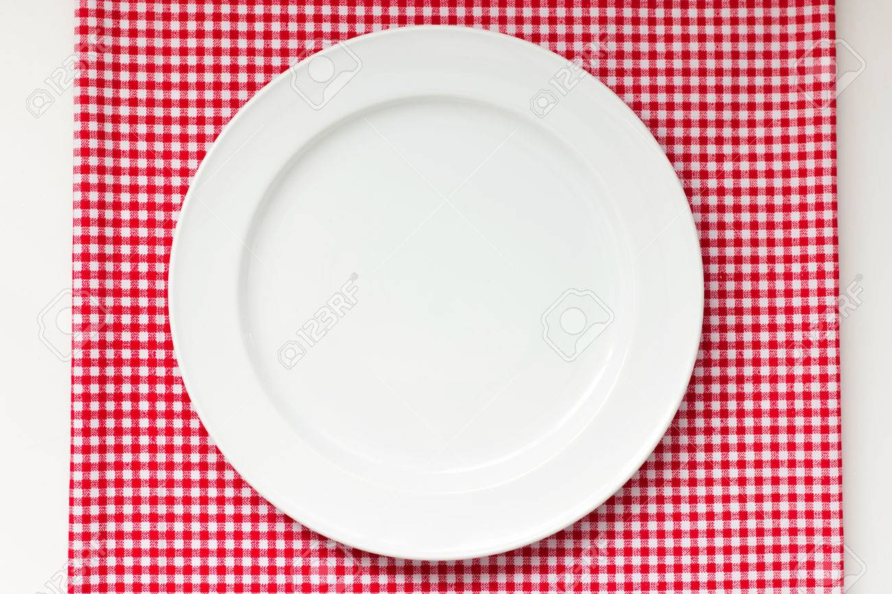 Remarkable White Dish Or Plate On Red Classic Checkered Tablecloth Texture Download Free Architecture Designs Grimeyleaguecom