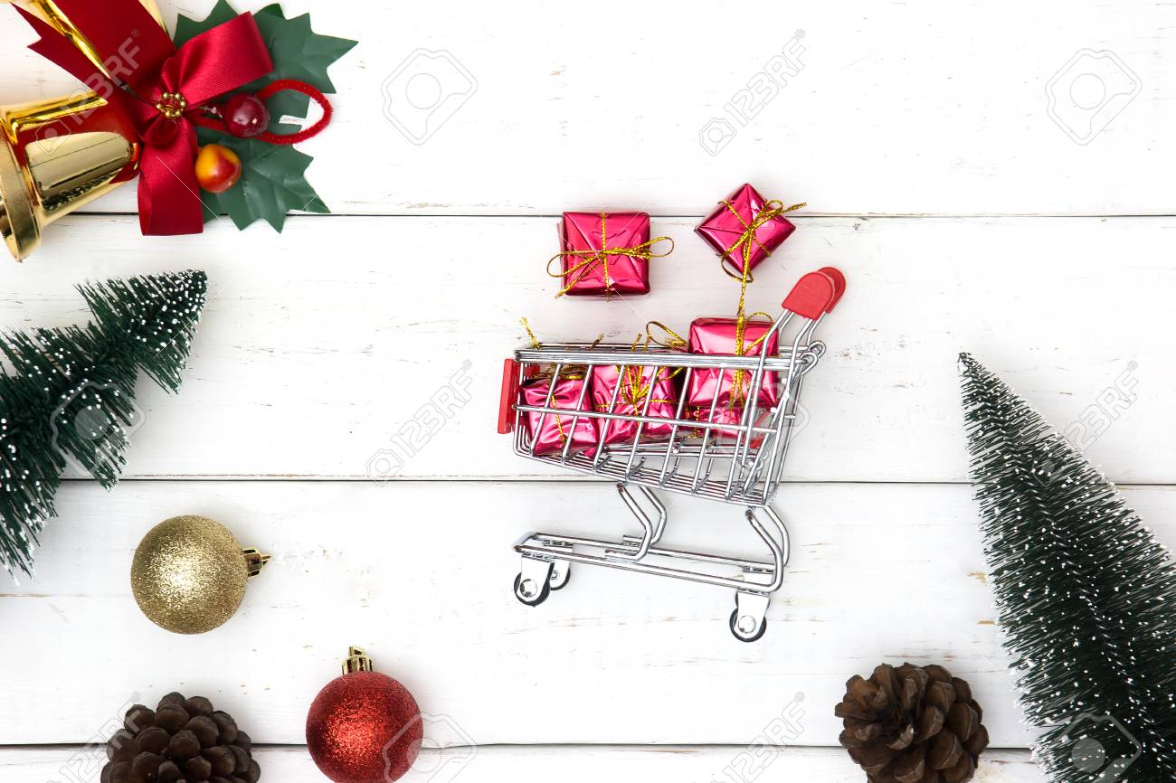 Christmas Gift Exchange.Holiday Shopping And Christmas Gift Exchange Concept With Shopping