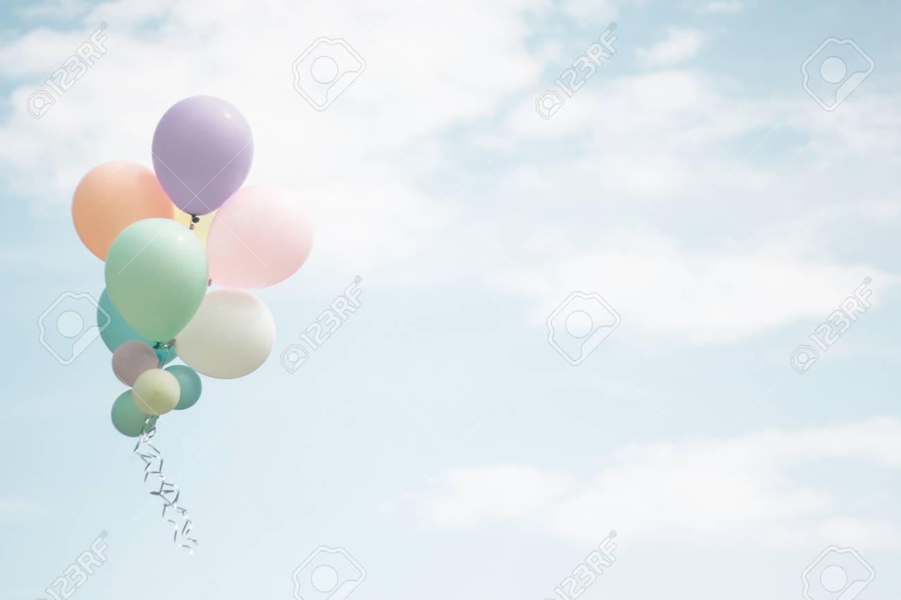 Group Of Soft Pastel Balloon With Colorful On Light Blue Sky