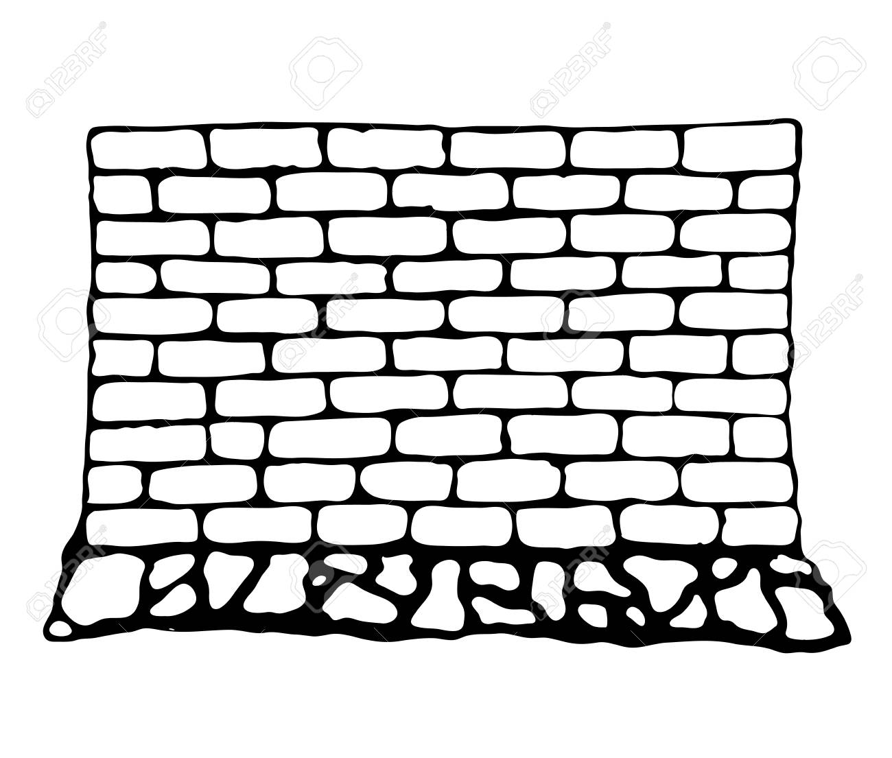 Painted Wall Of Brick And Stone Vector Illustration In Style Rh 123rf Com