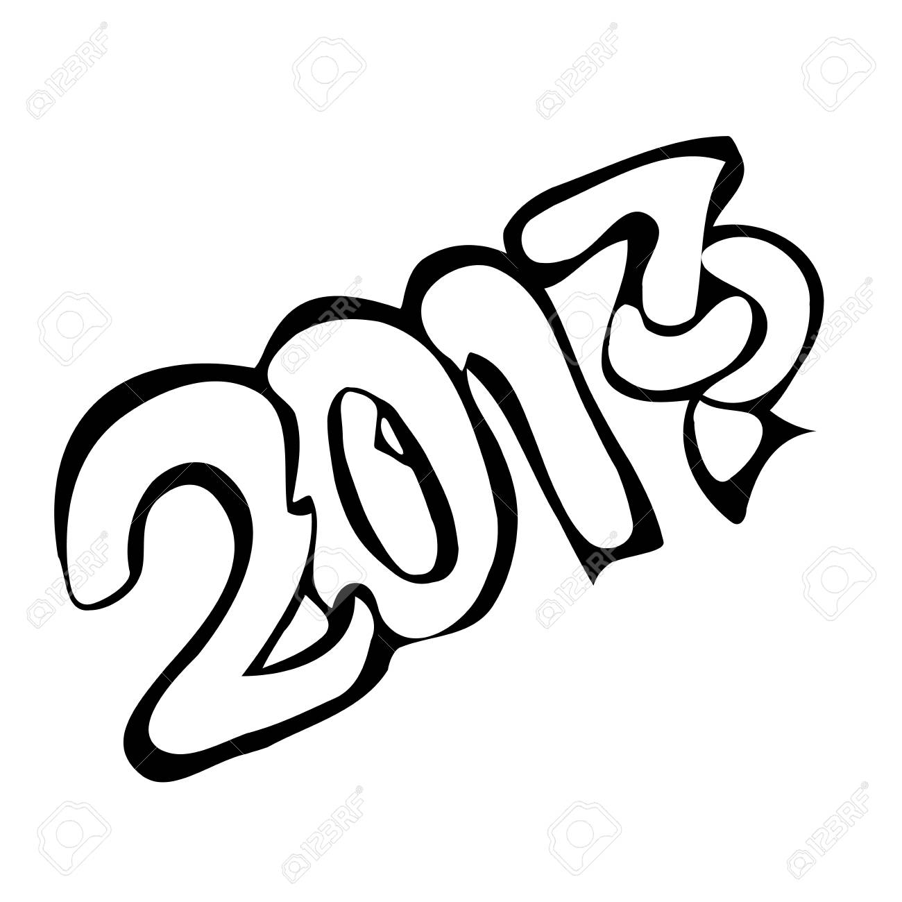 Font host new year 2017 vector illustration in style of pencil