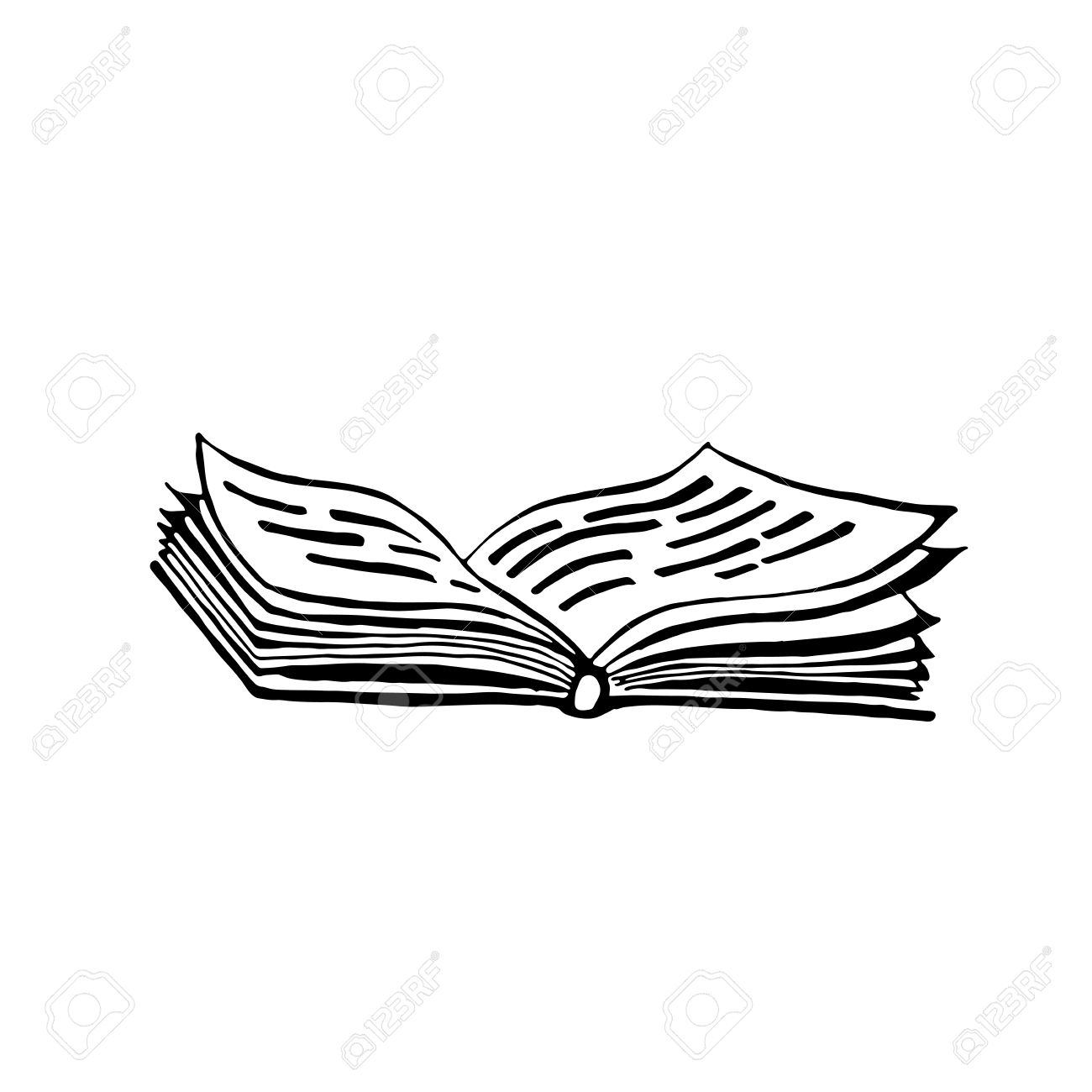 An open book with text vector illustration in style of pencil