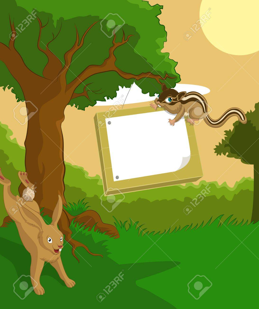 Vector image of wood background with plate and hare and chipmunk Stock Vector - 17976921