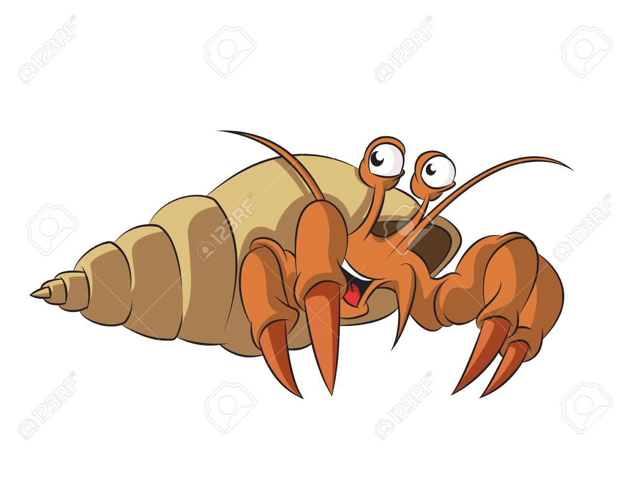 image of funny cartoon smiling hermit crab Stock Vector - 21765562