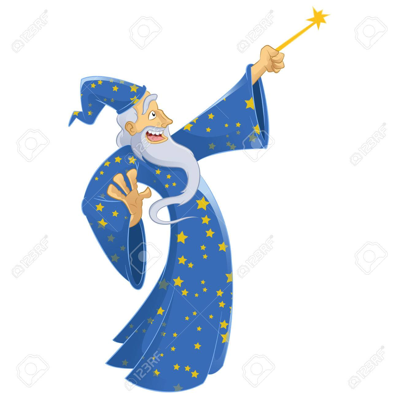 Vector Image Of An Cartoon Smiling Wizard Royalty Free Cliparts ...