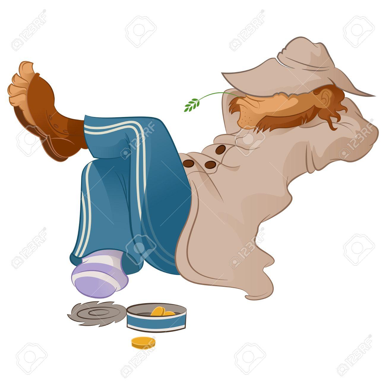 Vector image of an lazy cartoon Vagabond - 27597659