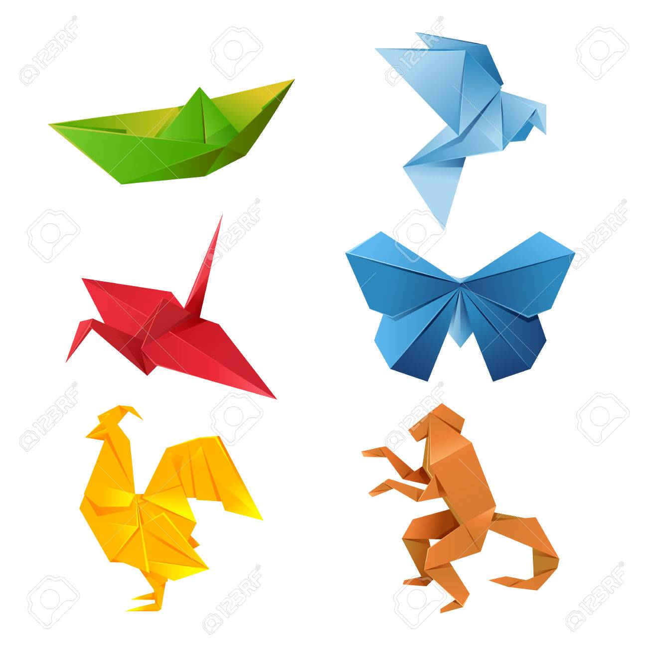 Image Of A Set Of Colorful Origami Animals Royalty Free Cliparts - Origamis-animales