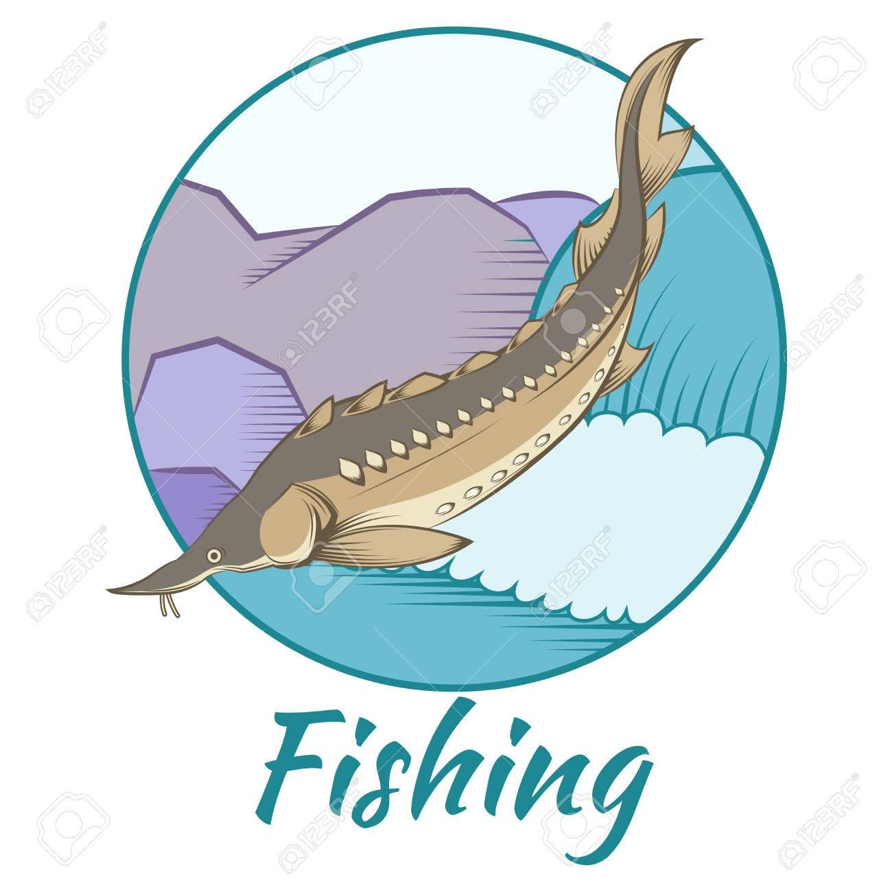 image of a sturgeon fishing banner royalty free cliparts vectors rh 123rf com Sturgeon Point Productions Logo White Sturgeon Clip Art