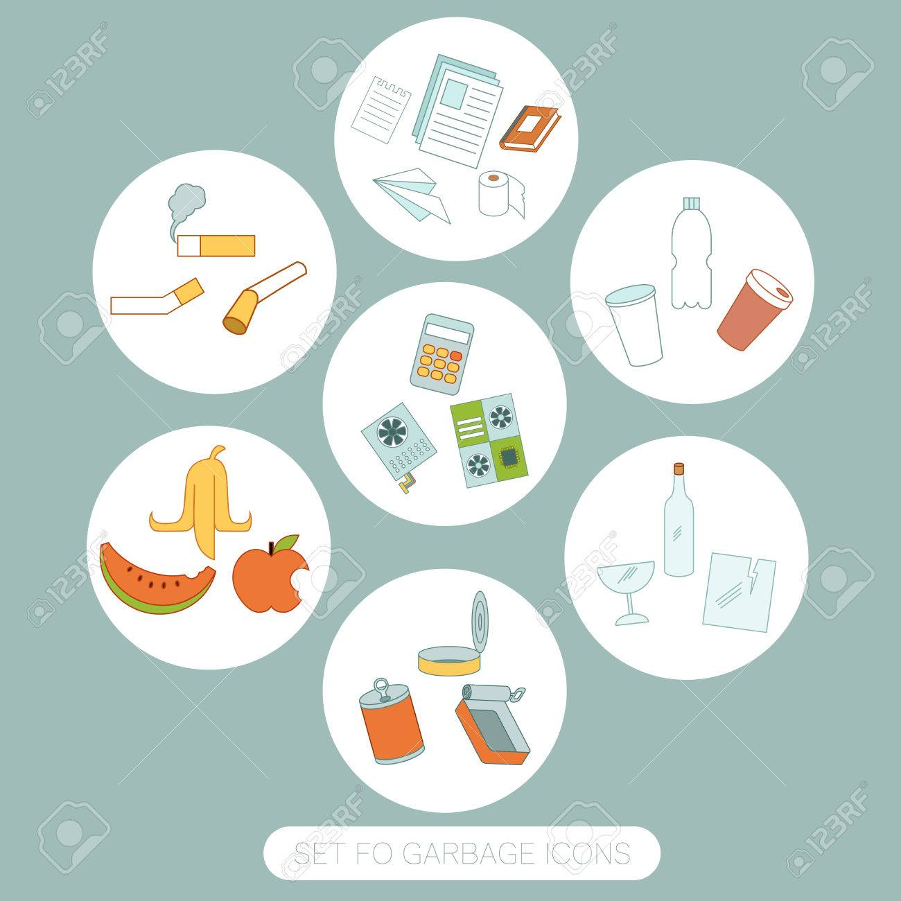 Vector image of the Set of colour garbage sign icons - 63827226