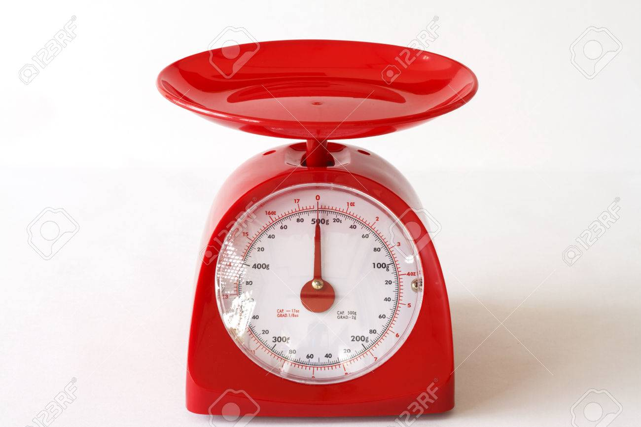 Red Kitchen Scales For Measure Food Ingredients Stock Photo ...