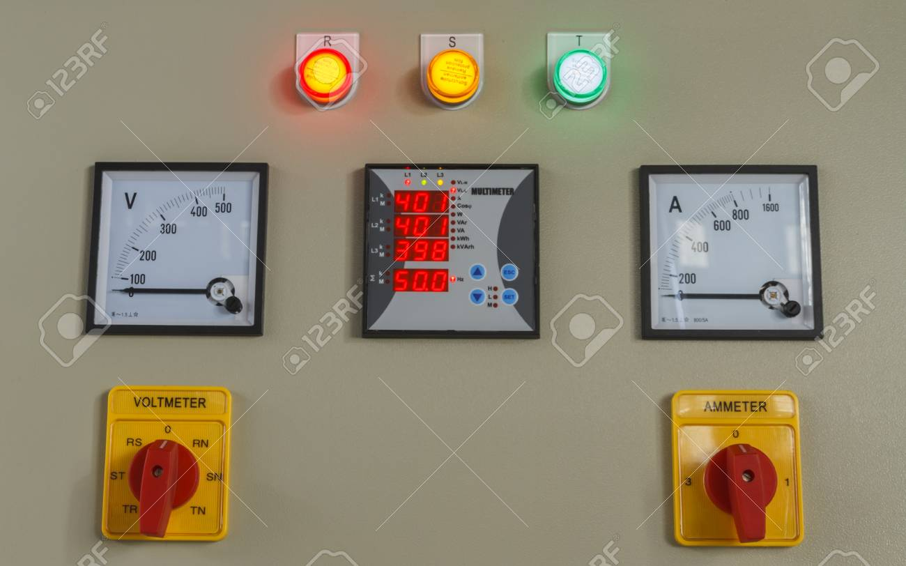 Volt And Amp Meter Switching Button On Electric Control Panel. Stock ...